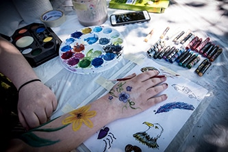 A young woman's arm and hand are painted with flowers and rest on a sheet of hand-drawn designs