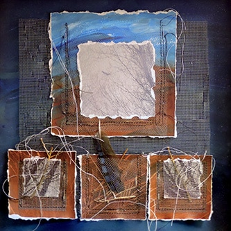 An assemblage by Mary Ann Breisch features paint on deckled paper, stitching, mesh, drawings of branches, and a bird feather