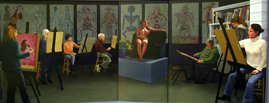 "A tryptich by Charles ""Bud"" Deihl depicts a life drawing class with symbollic anatomical references in the background"