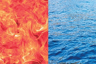 The branding graphic for the exhibit is a closeup photograph of flames beside a closeup photograph of sea water