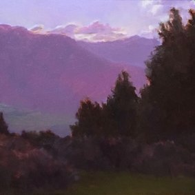 A painting of trees and mountains by Ann Beringer was displayed in summer 2017